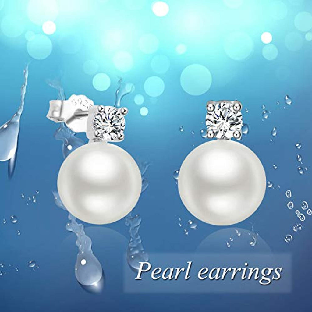 925 Sterling Silver 8mm Pearl Stub Earrings with Cubic Zircon