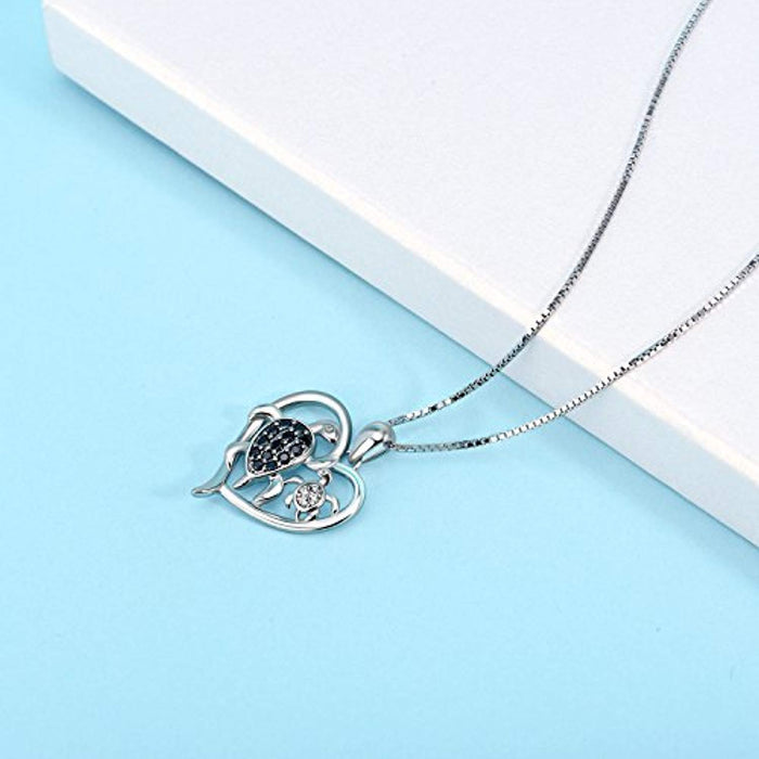 Turtle Necklace Sterling Silver Mother and Daughter Son Sea