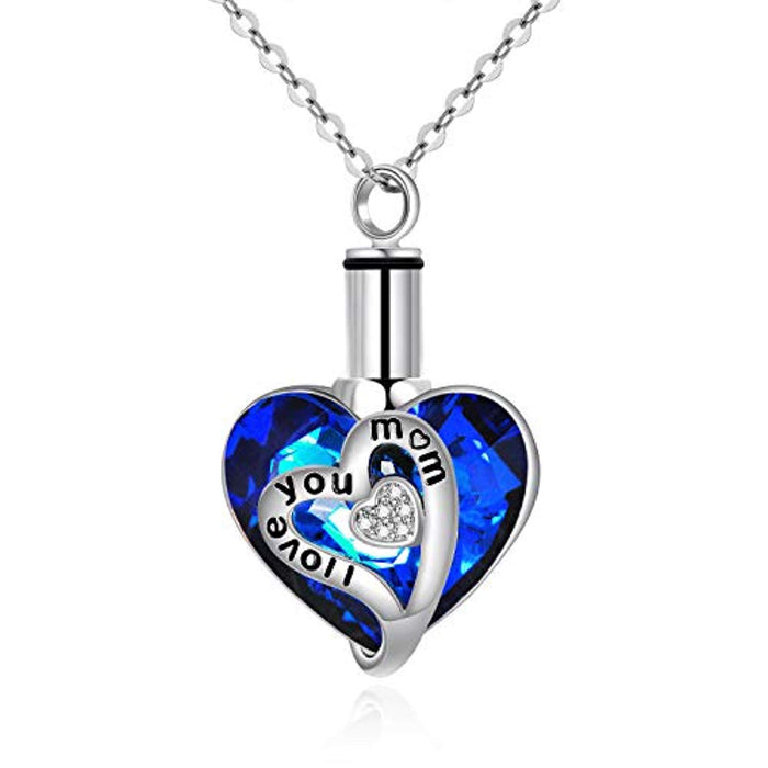 Sterling Silver Urn Necklaces for Ashes Engraved I Love You Pendant Cremation Necklace with Blue Heart Swarovski Crystals Fine Memorial Jewelry