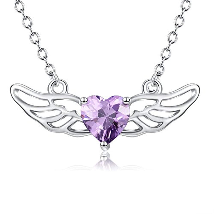 Guardian Angel Wings Necklace Sterling Silver Purple Simulated Birthstone Heart Pendant Necklace
