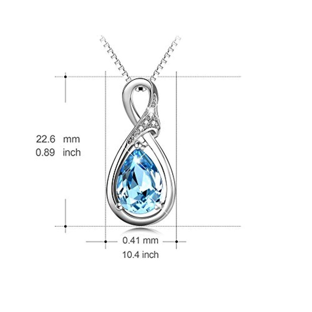 925 Sterling Silver Teardrop Pendant Necklace with Blue Swarovski Crystals Jewelry