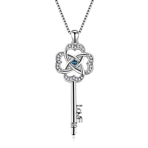 Key Pendant Necklace Lucky Clover Key-to-Love Jewelry with Swarovski Crystals for Her Women