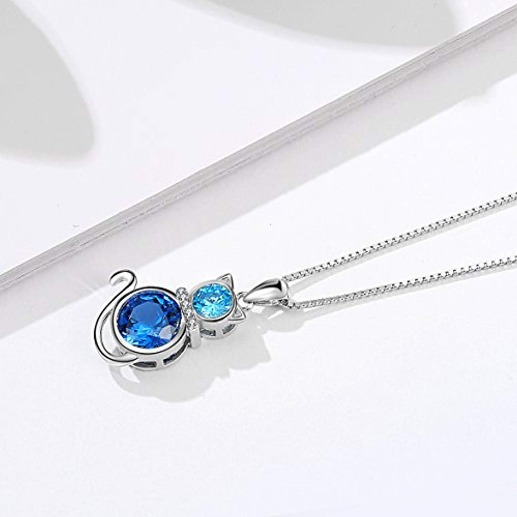 Cat Necklace 925 Sterling Silver with Blue Crystal Box Chain 18