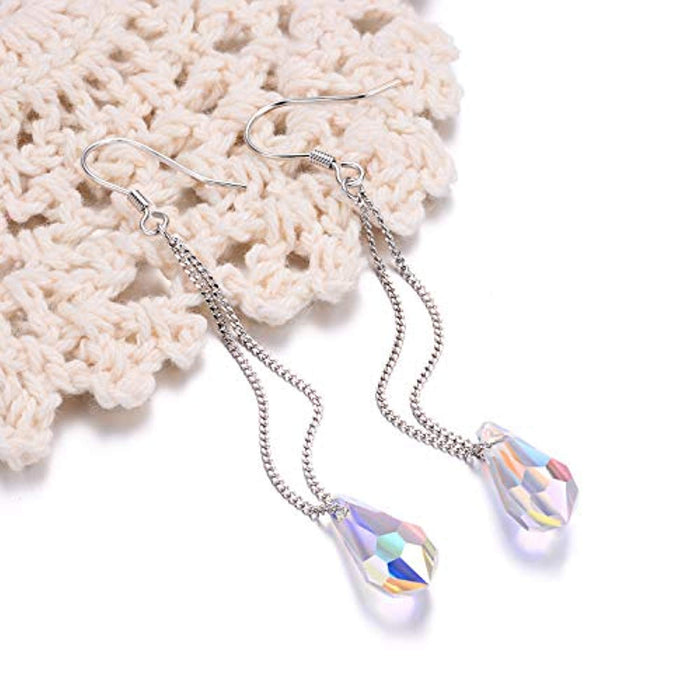 Teardrop Long Dangle Drop Earrings - Aurora Borealis Crystals from Crystal