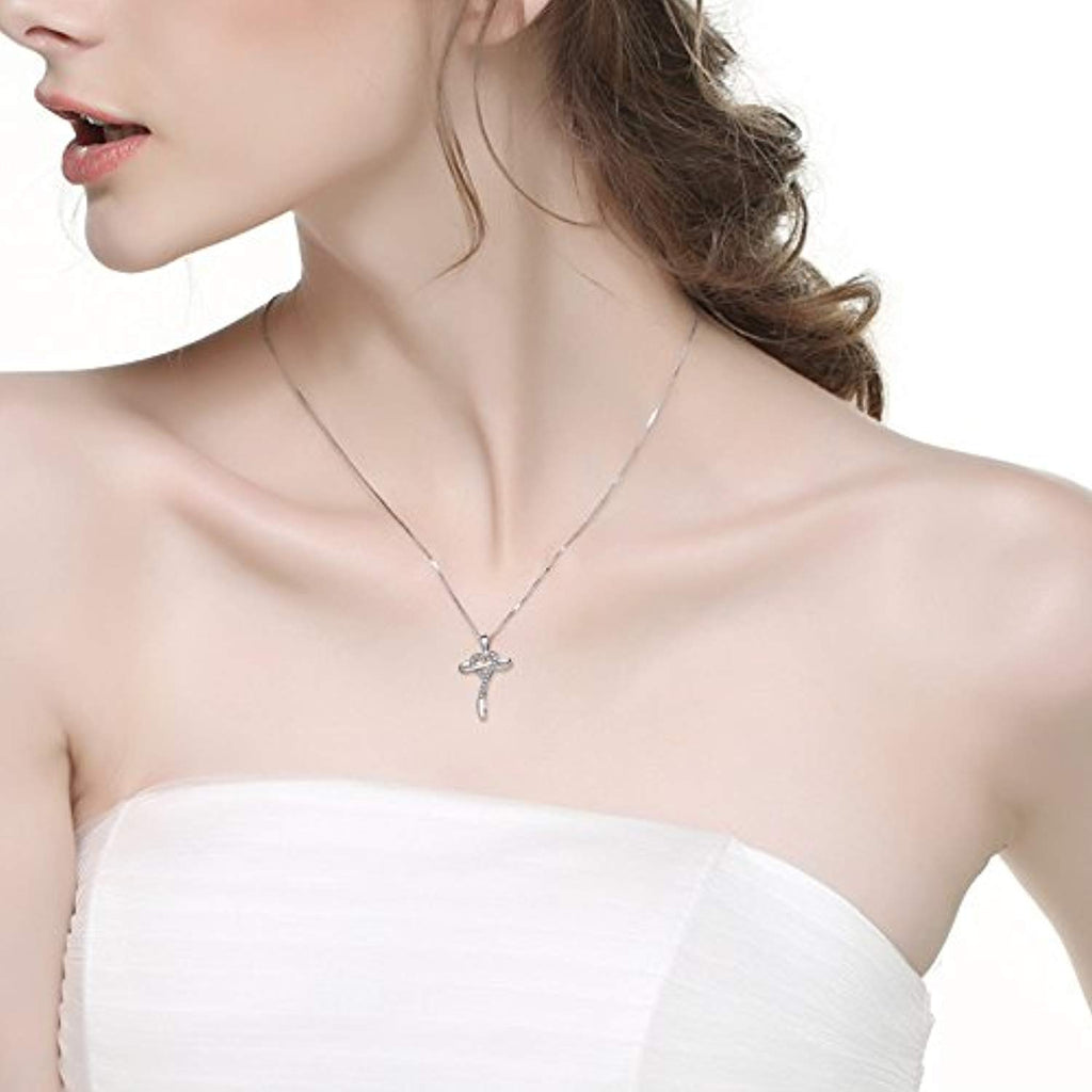 Cross Infinity Heart Sterling Silver Religious Necklace for Women