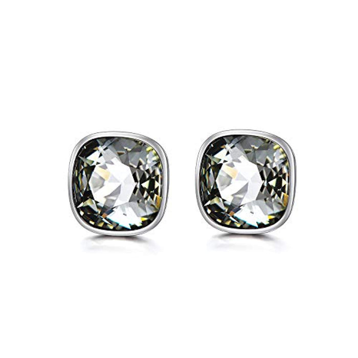 Hypoallergenic Essentials Square Studs Earrings with Grey Silver Swarovski  Crystal 10mm