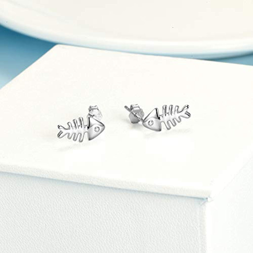 925 Sterling Silver Women Fashion Fish Stud Earrings