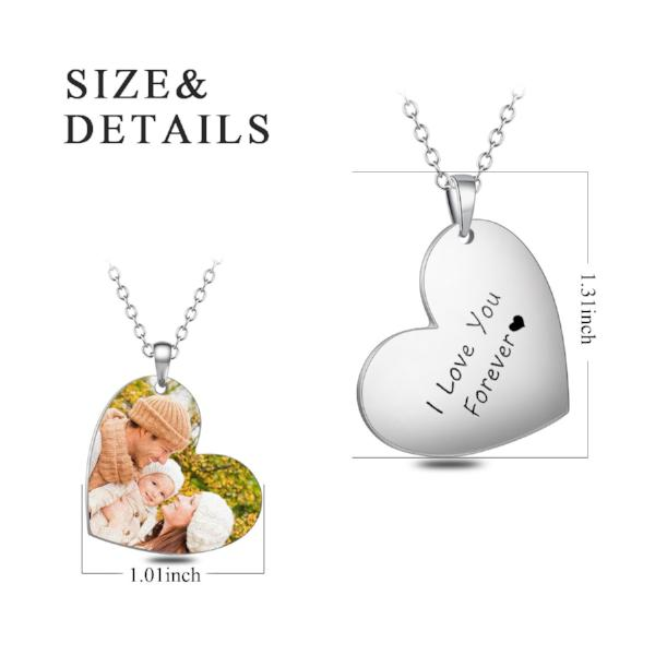 "Love My Family-Stainless Steel Personalized Color Photo&Text Necklace Adjustable 16""-20"""