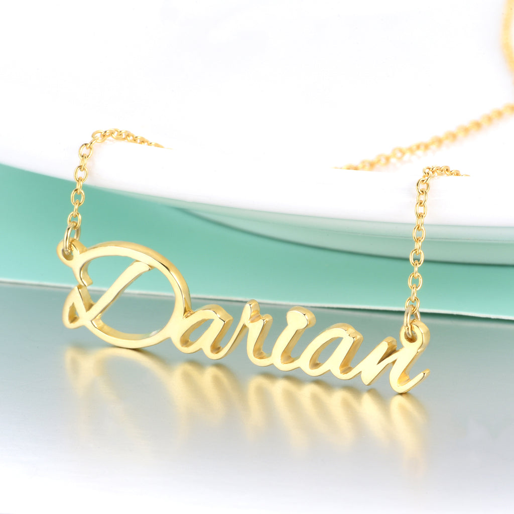 "Darian - Copper/925 Sterling Silver Custom Name Necklace Adjustable 16""-20"" - Yellow Gold Plated"