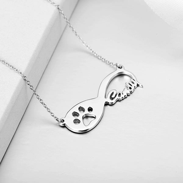 "Copper/925 Sterling Silver Personalized Pawprint Infinity Name Necklace  Adjustable 16""-20"""