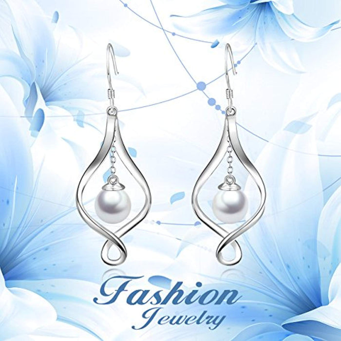 Pearl Dangle Earrings Sterling Silver Infinity Love Celtic Knot Drop Earrings Dangles