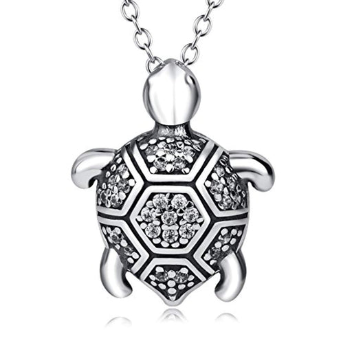 "Turtle Necklace Sterling Silver with Cubic Zirconial Necklace 18"" for Women Girls(Turtle)"