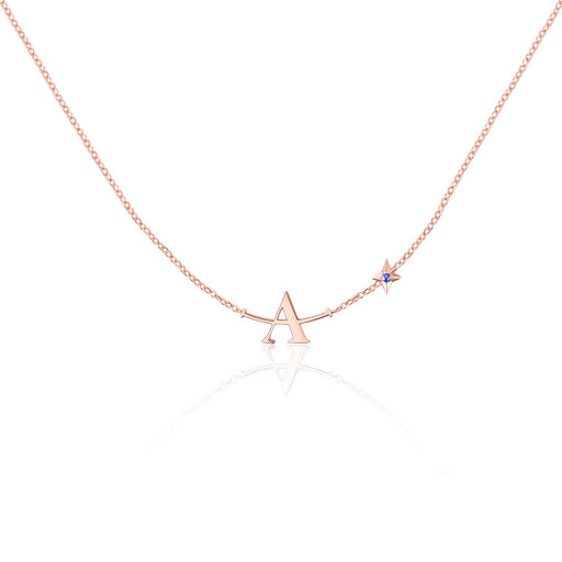 A Plus Initial Necklace for Women Girls Sterling Silver Choker Star A+ Smile Chains Lucky Charms Jewelry Gift