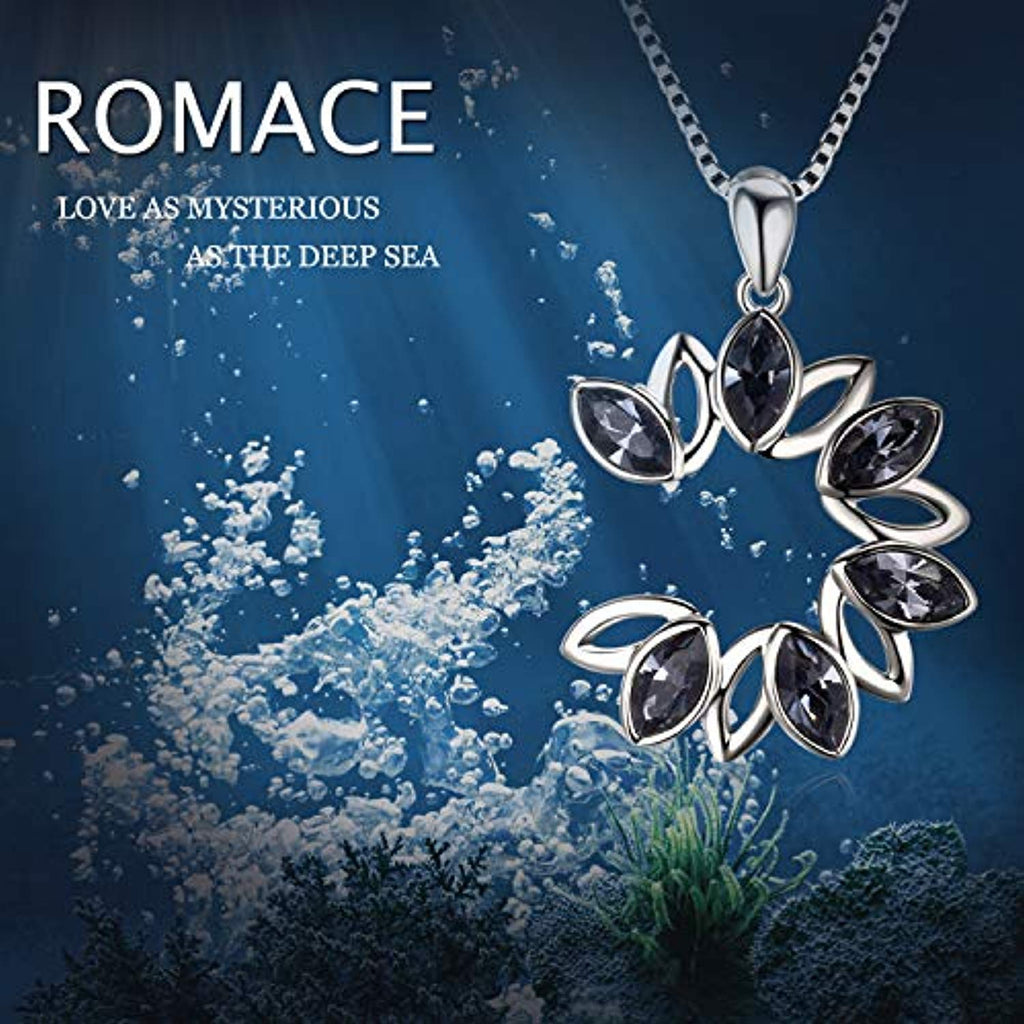 Round Necklace Two Tone Leaf Swarovski Crystal Flower Necklace Open Circle Pendant Elegant Jewelry Gift for Women Girls