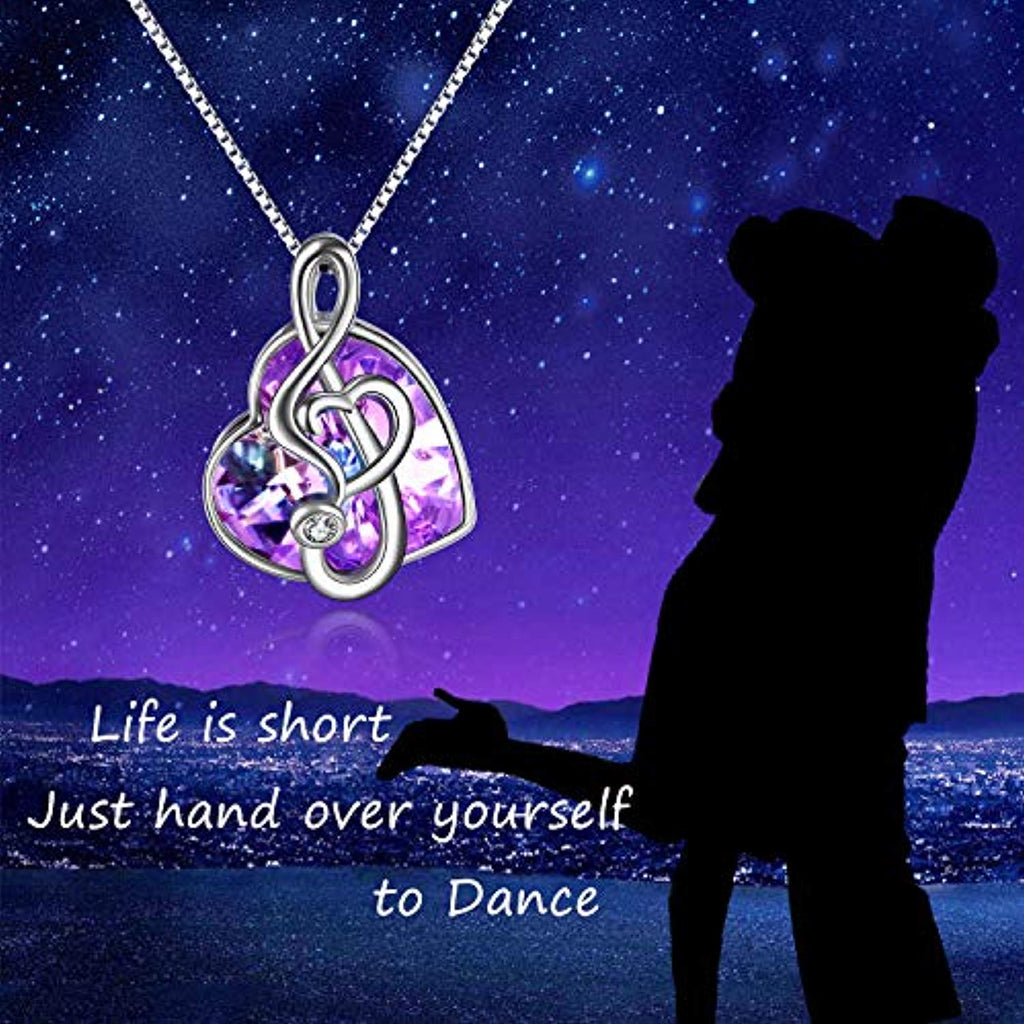 Dance with Me Purple Music Note Necklace for Women My Girls Heart Shaped Vitrail Color Changing Crystal Pendant with Swarovski Element