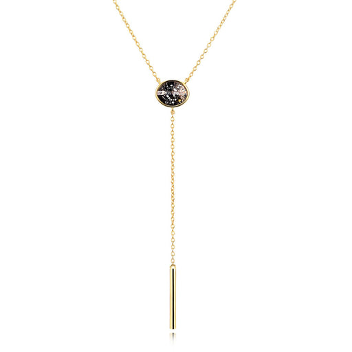 Y Drop Bar Necklace with Crystal Crystal Lariat Necklace