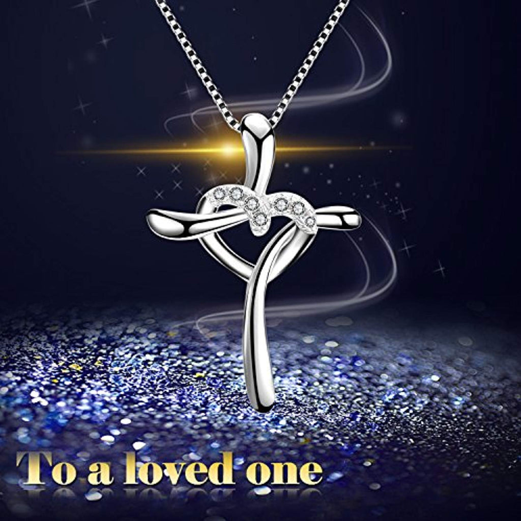 Cross Heart Pendant Women 925 Sterling Silver Polished Infinity Heart Necklace 18
