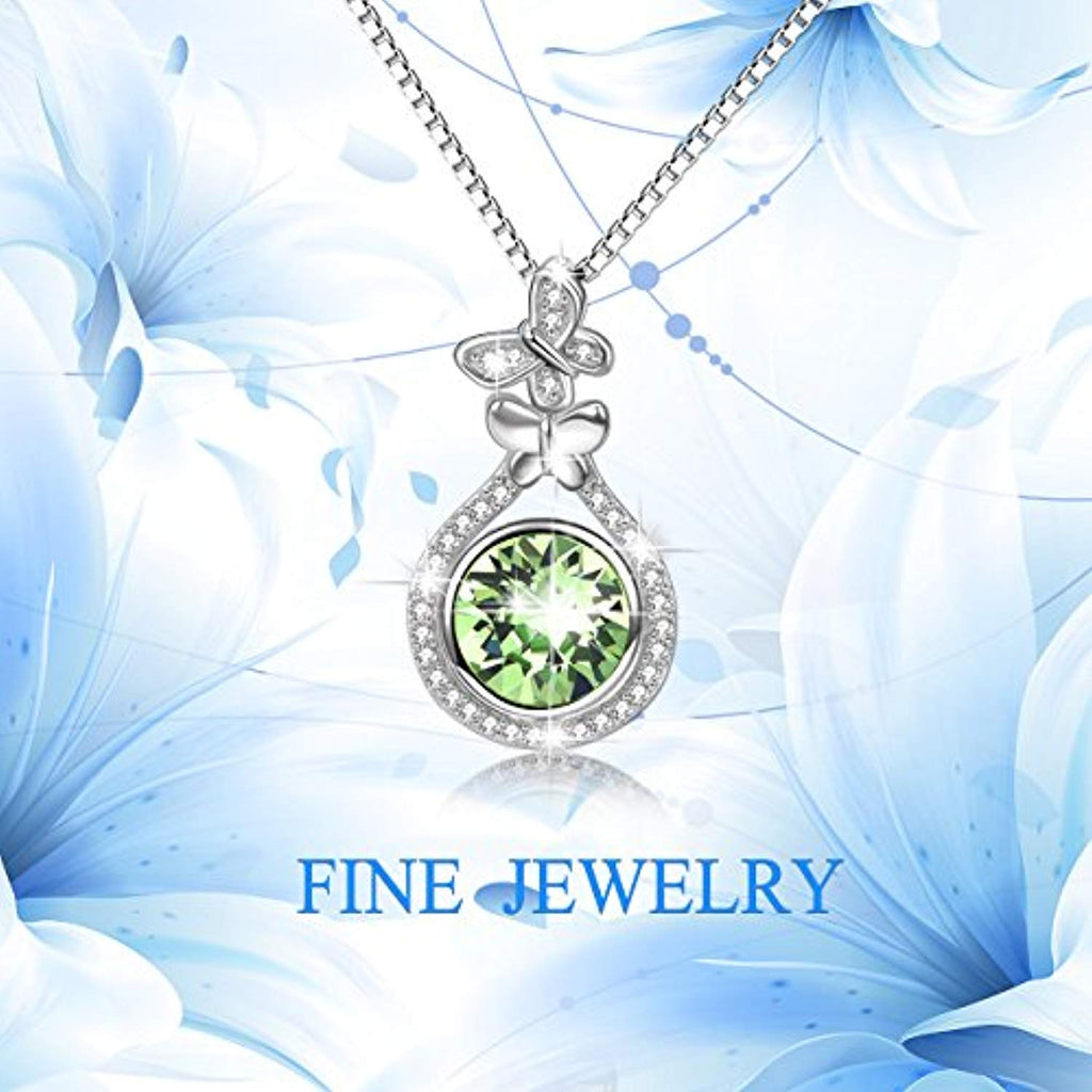 August Birthstone Sterling Silver Teardrop Necklace Pendant with Simulated Peridot Swarovski Crystals