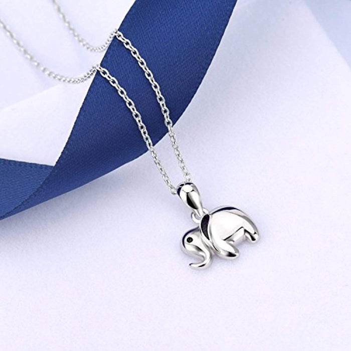 Sterling Silver Little Lucky Elephant Pendant Necklace and Elephant Earrings for Girls Boys