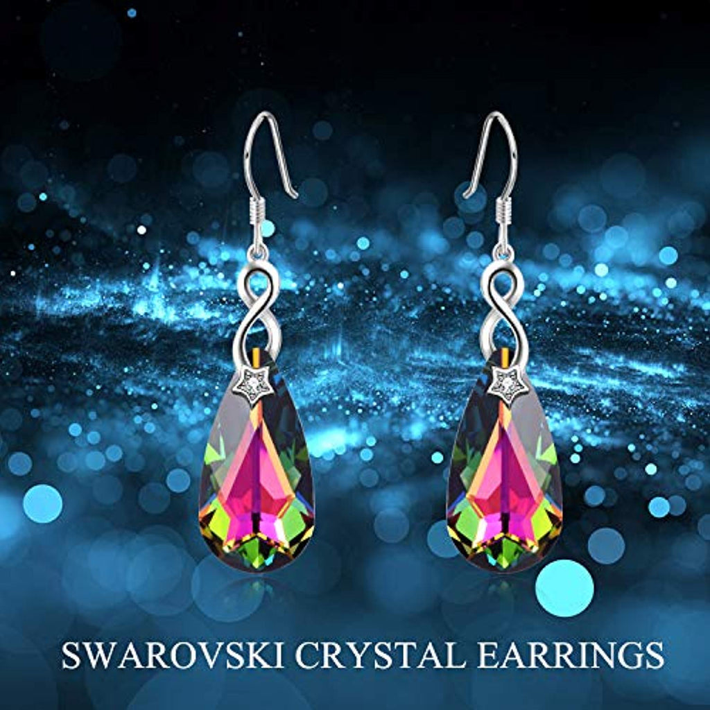 Sterling Silver Peacock Dangle Drop Earrings with Swarovski Crystals Fine Jewelry Gift for Women Girls