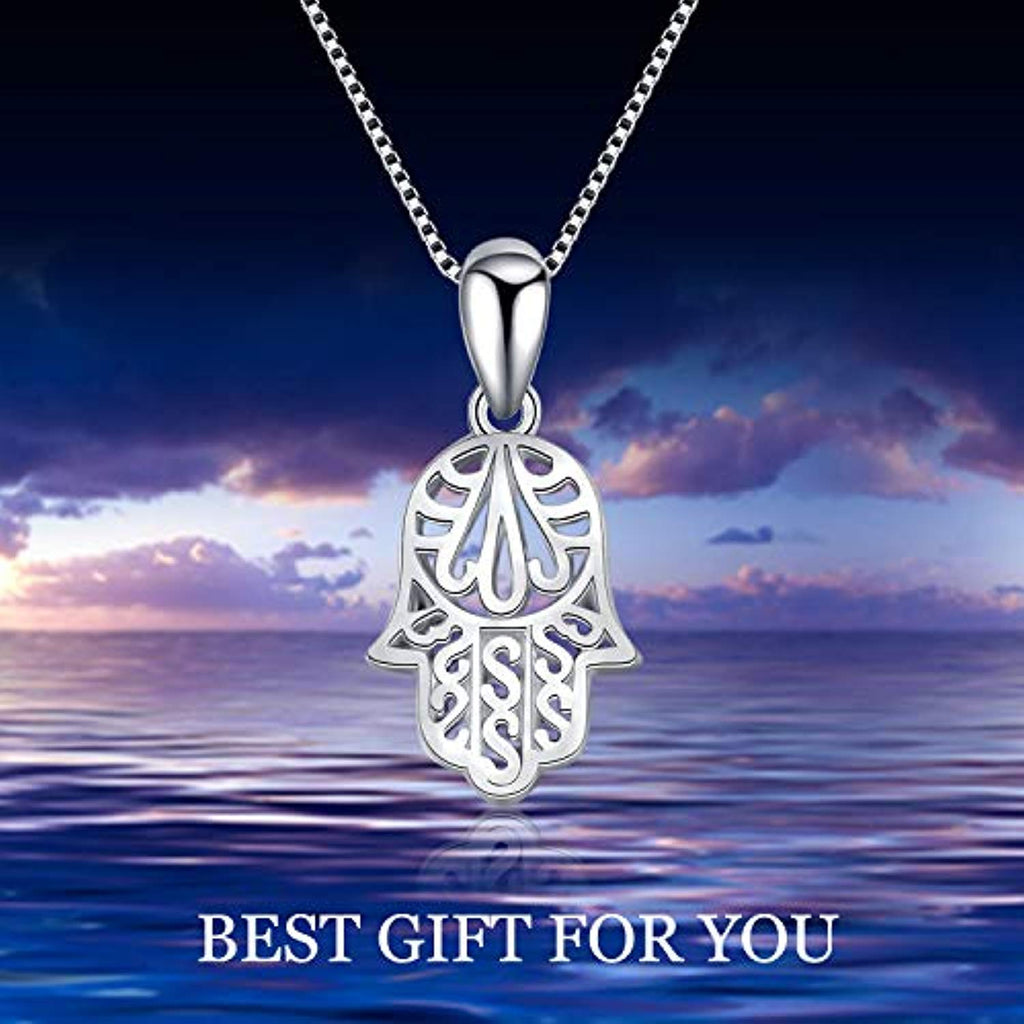 Hamsa Hand Pendant Necklace Infinity Fatima Hand Women Necklace 18