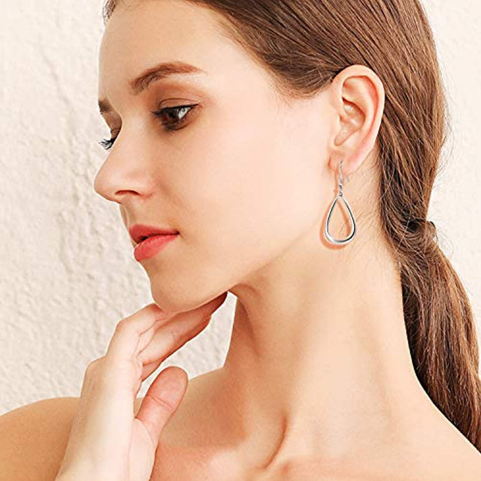 925 Sterling Silver Hoop Drop Earrings Jewelry for Women Girls