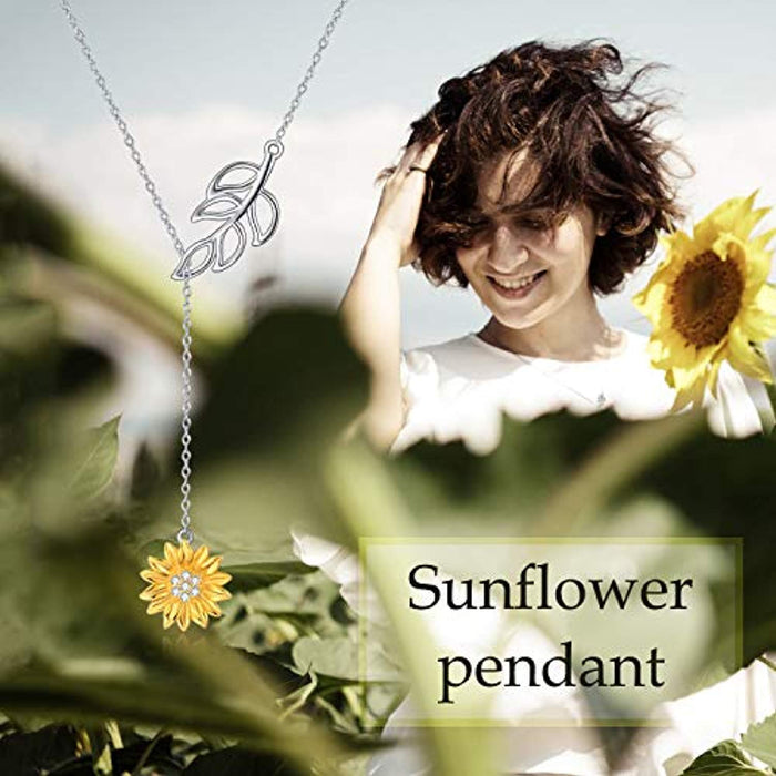 Sterling Silver Sunflower Necklace Series For Women Girls