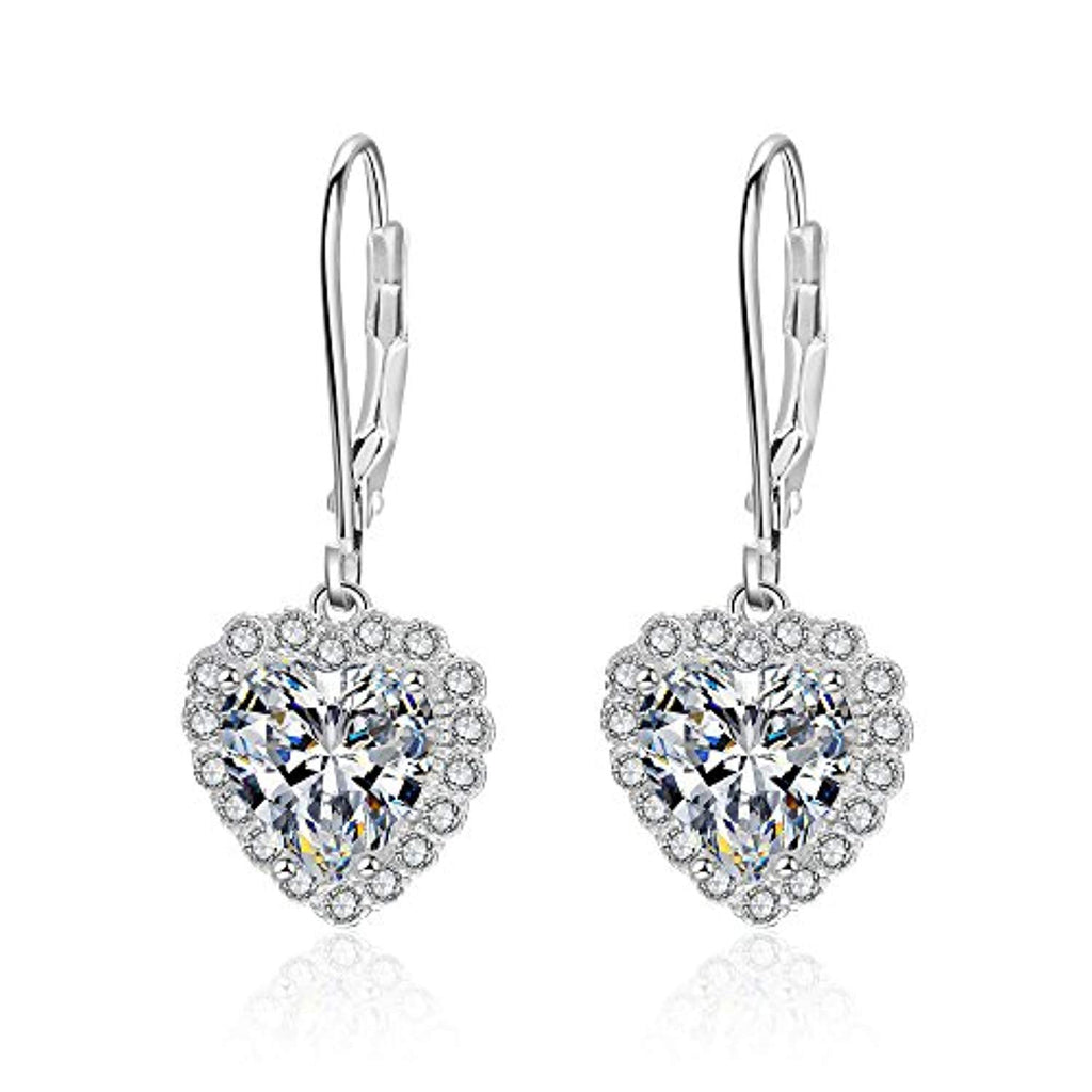 Sterling Silver Heart Cubic Zirconial Halo Cz Women Wedding Party Dangle Drop Earring
