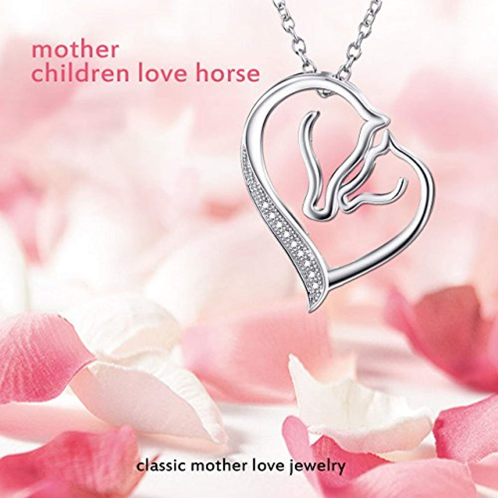 S925 Sterling Silver Mother and Child Horse Head Heart Shape Pendant Necklace 18