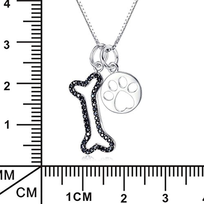 Women Silver Set Pendant Jewelry 925 Sterling Silver Two-tone Puppy Bone and Cat Paw Necklace,18""