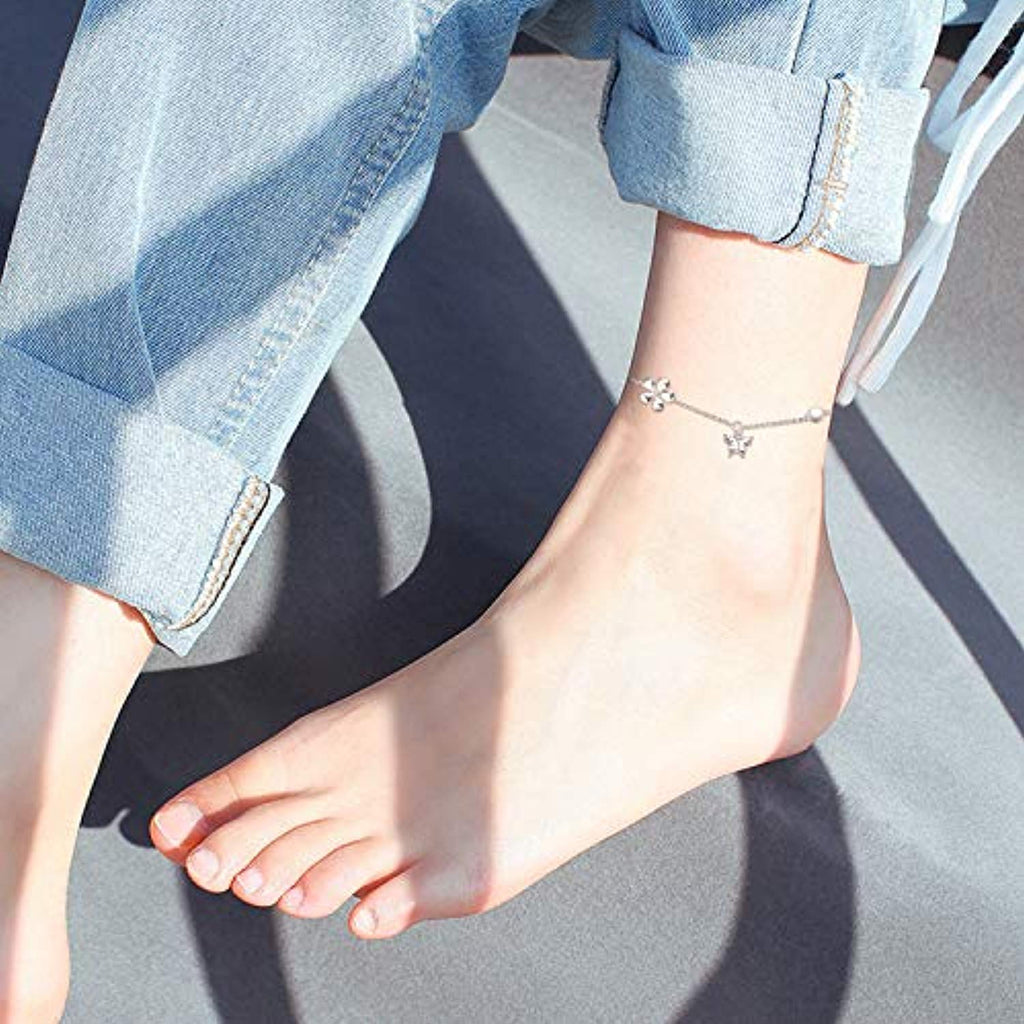 Sterling Sliver Ankle Bracelet for Women, Boho Beach Adjustable Bracelet/Anklet for Teen Girls