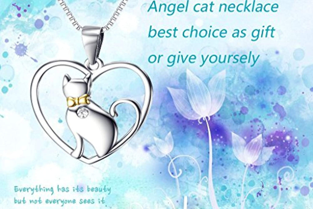 Women's Animal Jewelry Gift Solid Silver Love Heart Cat Necklace,18