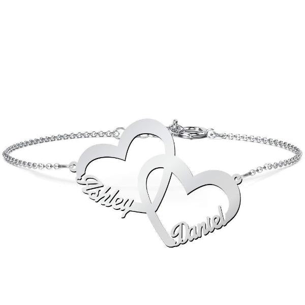 "925 Sterling Silver Personalized Interlocked in Love Name Bracelet Length Adjustable 6""-7.5"""