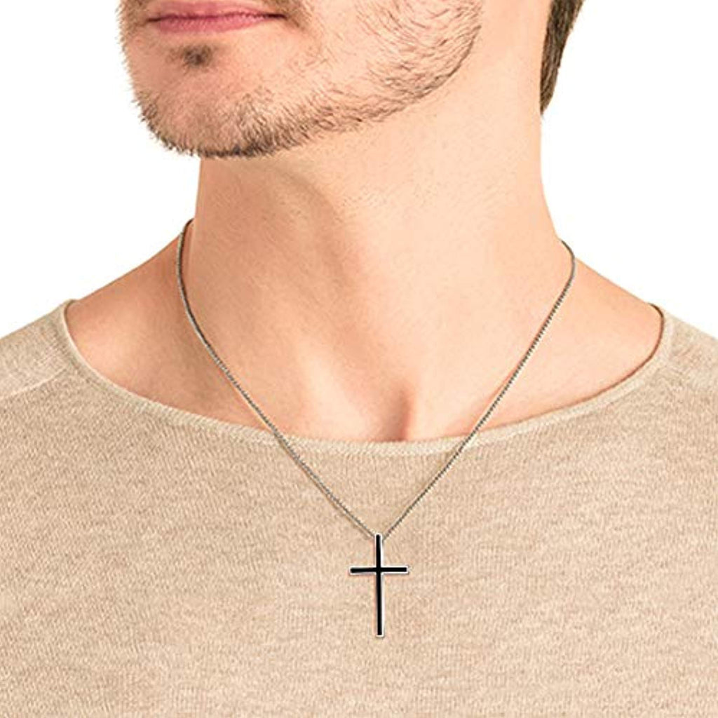 Men's Black Cross Pendant Jewelry 925 Sterling Silver Classic Cross Necklace, 22
