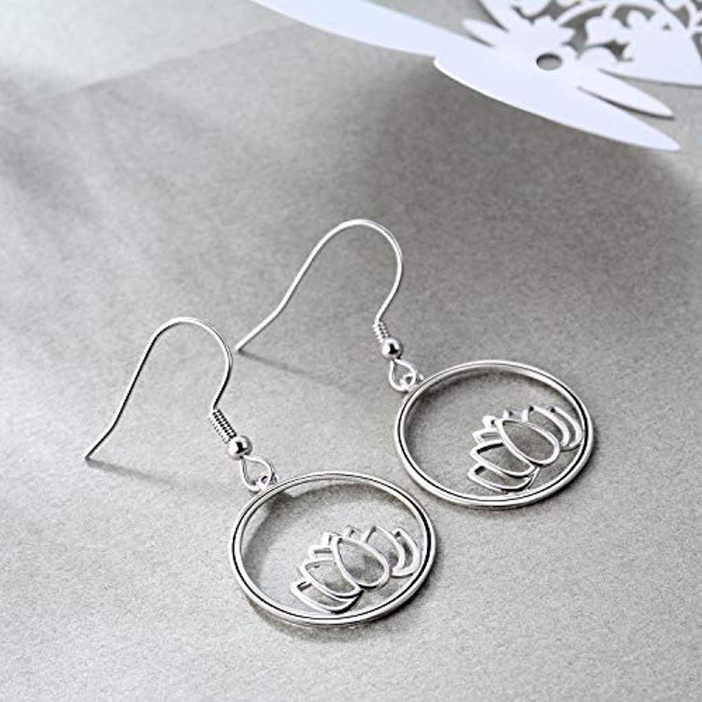 Sterling Silver Pendant Necklace with Om Symbol Cubic Zirconial Lotus Flower Earrings