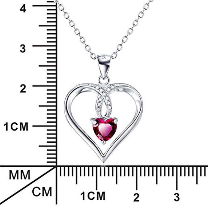 "925 Sterling Silver Created Ruby Love Heart Pendant 18"" Necklace"