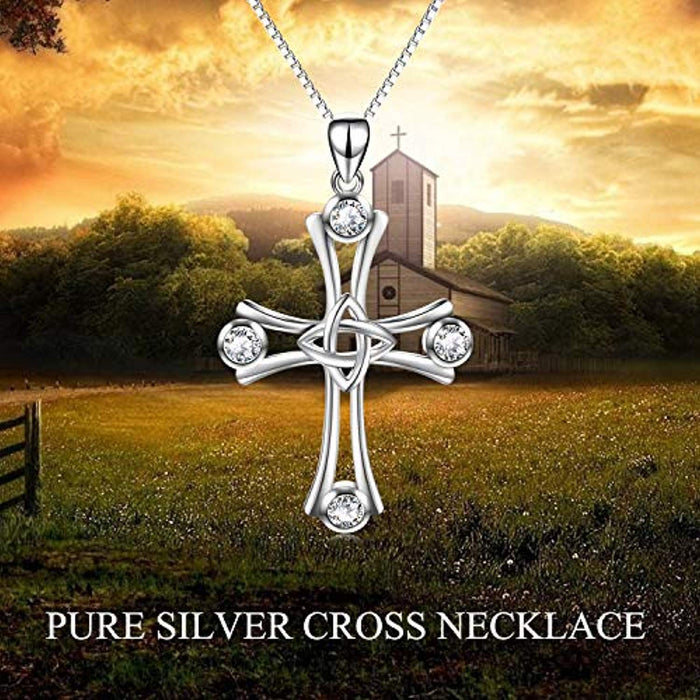 Sterling Silver Cross Pendant Necklace with Swarovski Crystals, Cross of Eternal Love Necklace