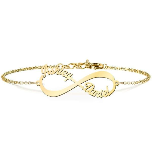 "925 Sterling Silver Personalized Infinite Love Name Bracelet Length Adjustable 6""-7.5"""