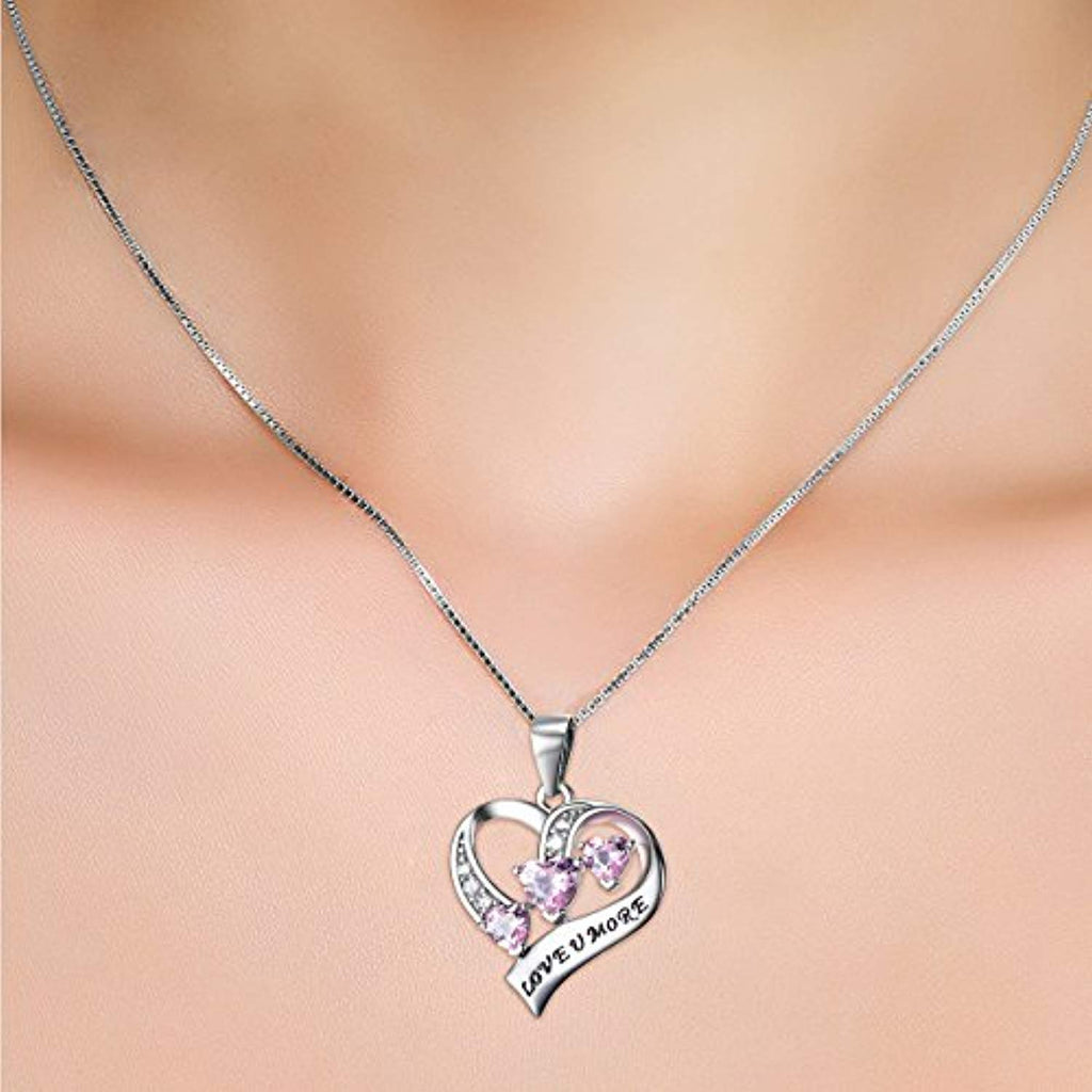Engraved Love You More Sterling Silver Pink Jewelry Crystal Eternity Heart 18