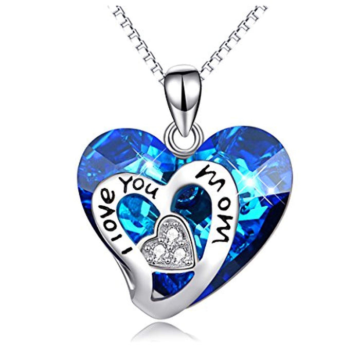 I Love You Mom 925 Sterling Silver Heart Pendant Necklace with Blue Crystals from Crystal