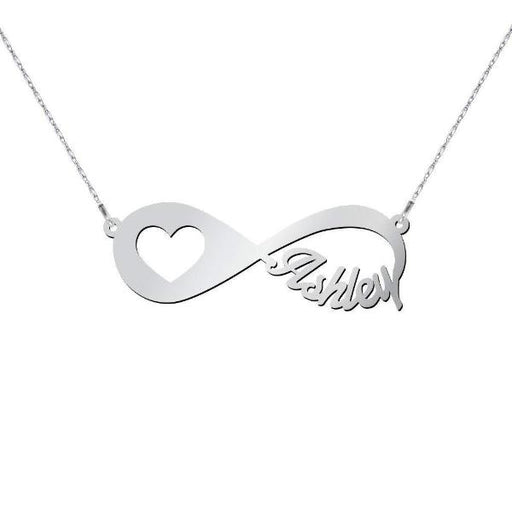 "'In My Heart' -Copper/925 Sterling Silver Personalized Infinity Name Necklace  Adjustable 16""-20"""