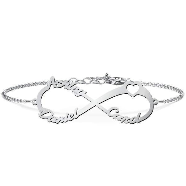 "925 Sterling Silver Personalized Infinity Bracelet  With Heart Length Adjustable 6""-7.5"""