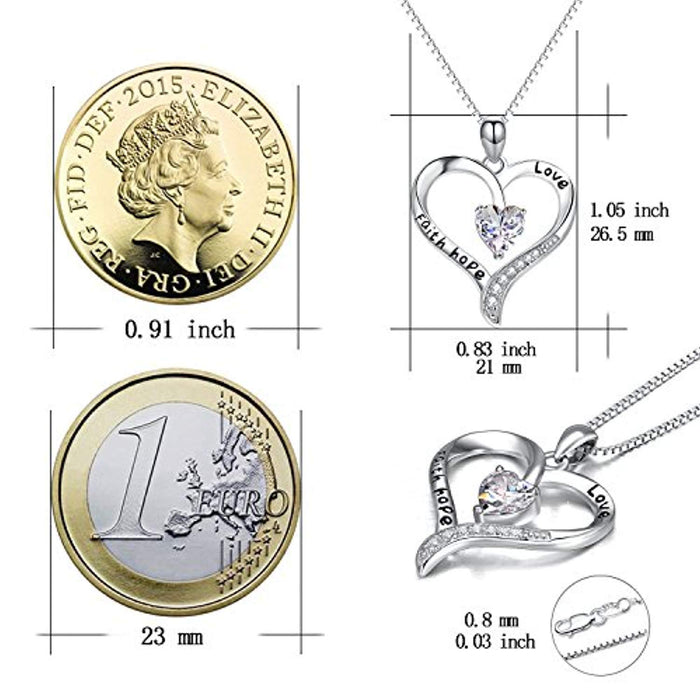 925 Sterling Silver Mother and Child Love & Faith Hope Love Heart Pendant Necklace