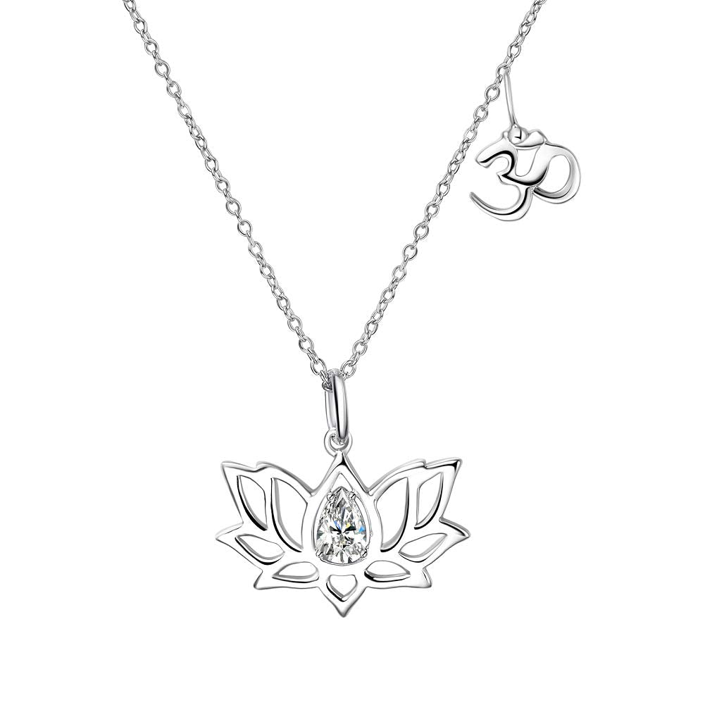 Sterling Silver Pendant Necklace with Om Symbol Cubic Zirconial Lotus Flower Jewelry Necklaces