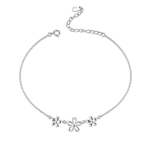 Sterling Silver Daisy Flower Anklet and Star Anklet for Women Teens Girls
