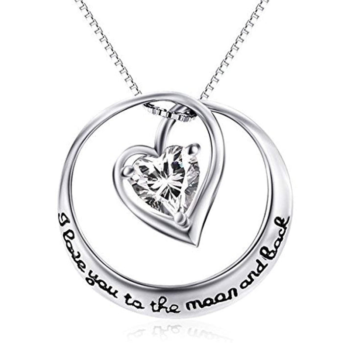 I Love You to The Moon and Back Sterling Silver Clear Crystal Infinity Heart Pendant Necklace 18""