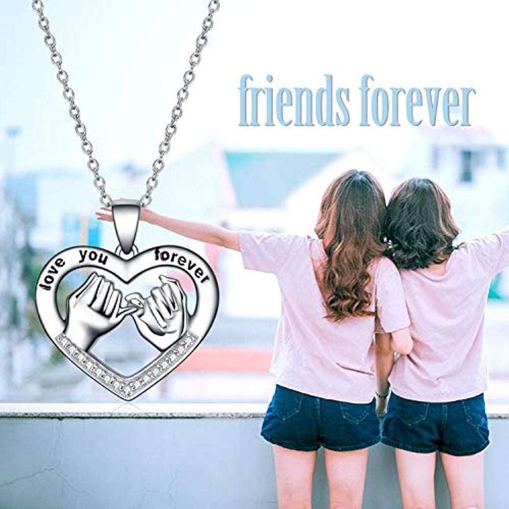 925 Sterling Silver Sister Friendship Necklace Forever My Friend Love Heart Pendant 18