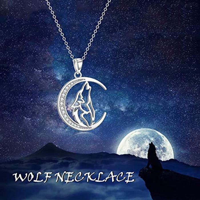 925 Sterling Silver Cubic Zirconial Wolf Moon Necklace 18""