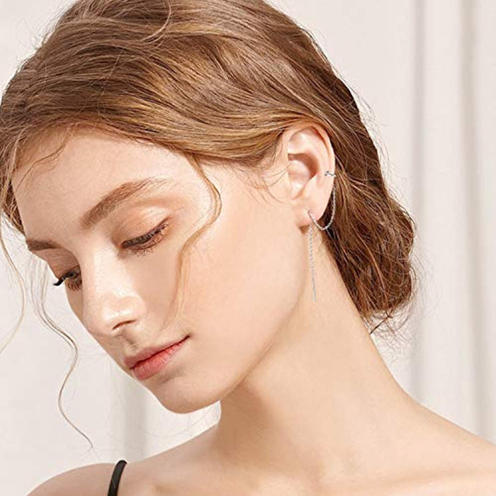 Sterling Silver Threader Earrings Ear Cuff Climber Crawler Wrap Earrings for Women Girls