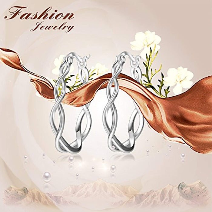 Enternity Celtic Knot Hoops Earrings 925 Sterling Silver Polished Irish knot Circle Hoop Jewelry for Women Girls